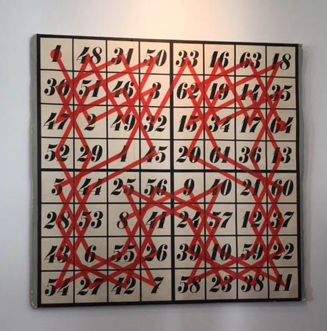 Painting from the Eames' Collection depicting a knight's tour — starts at 1 and ends at 64. Each square is visited once. It also represents a magic square!